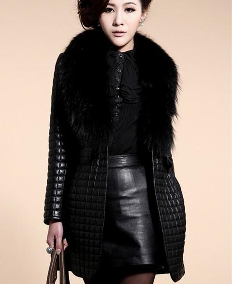 Большой воротник из меха енота, имитация овчины, Хлопковая женская кожаная куртка из искусственного меха, длинное пальто 8870