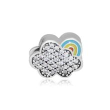 CKK Rainbow Cloud Beads 925 Sterling Silver Clear CZ Charms Women DIY Jewelry Making Fits Original Bracelet perles