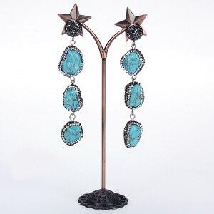 dankaishi Fashion Women Earring Blue Sediment Natural Stones Charms Luxury Rhinestone Crystal Bohemian Vintage Ethnic Style Gift