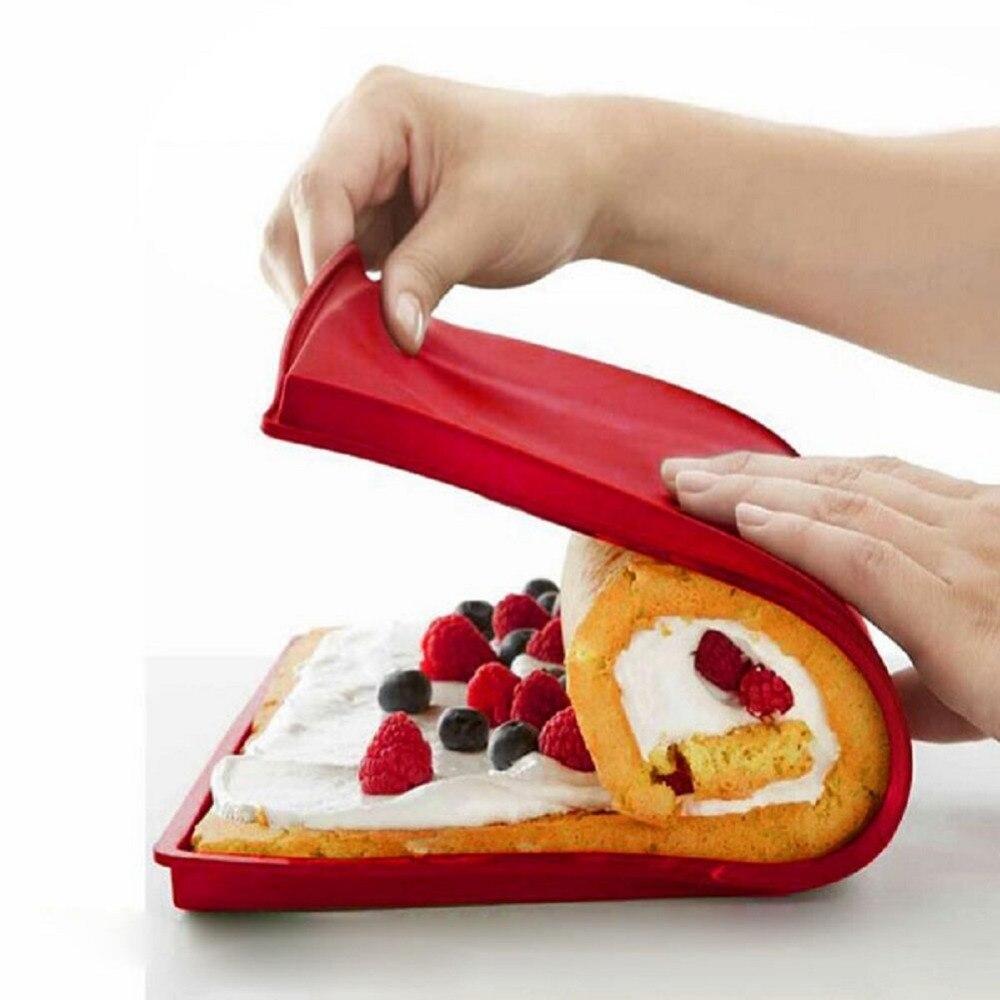 Rollo de silicona tapete para pastel, tapete para pastel, bandeja Flexible para hornear, molde de silicona para Pizza y galletas