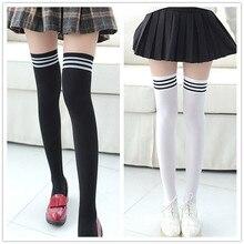 1 пара, Хлопковые гольфы в полоску для девочек, корейские японские каваи, носки в стиле Лолиты, Повседневные Гольфы до колена, женские длинные носки, W5.9