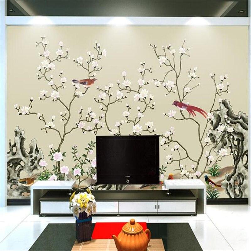 Wellyu-papier peint 3D personnalisé   Peinture murale solide, pinceau de peinture chinois peint à la main, fleur de salon, papel de paréo, 3D
