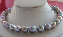 Natural 11-13mm Purple Edison Reborn Keshi Pearl Necklace 14K