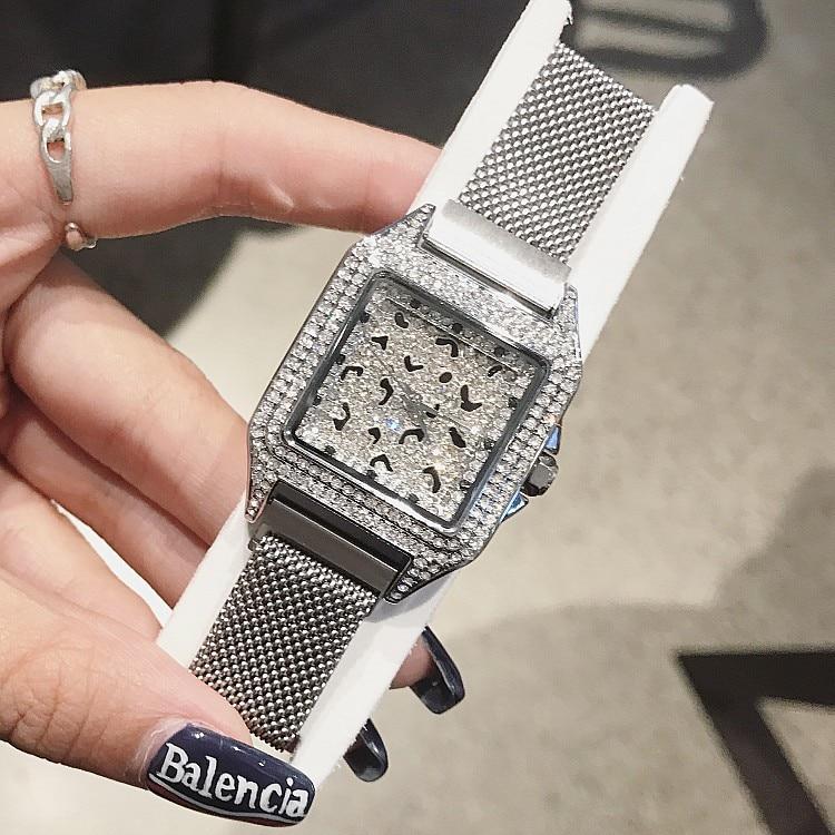 2019 Luxury Brand lady Crystal Watch Women Dress Watch Fashion Rose Gold Quartz Watch Female Stainless Steel Purple Wristwatches enlarge