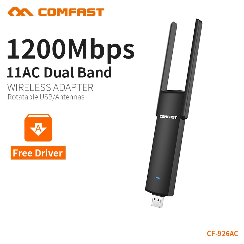 COMFAST 1200 Мбит/с wifi адаптер plug & play 802.11ac/b/g/n 5,8 ГГц Wi-Fi ключ AC сетевая карта USB Антенна Ethernet CF-926AC