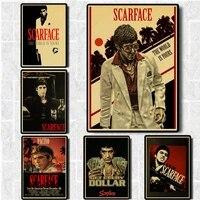 Scarface     affiches de film de bonne qualite  peinture Vintage  papier Kraft pour decoration murale de maison  Bar  autocollants