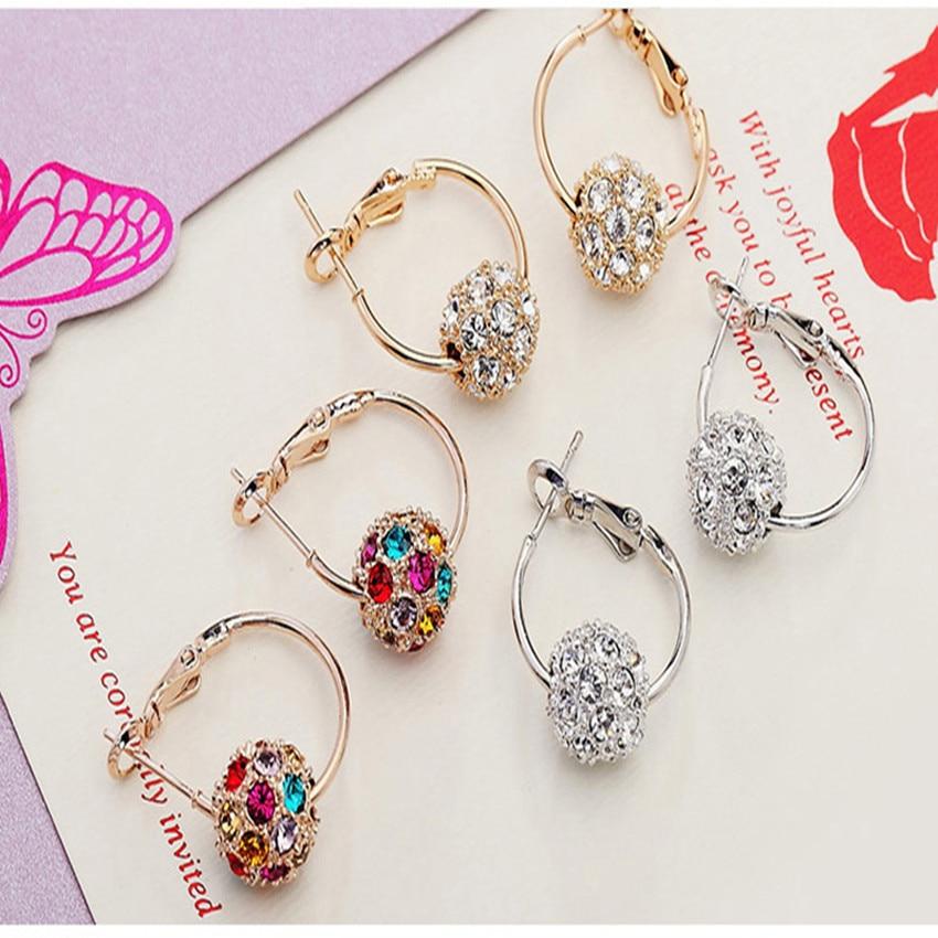 Fesyen bola kristal Austria anting-anting emas / perak berkualiti - Perhiasan fesyen - Foto 3