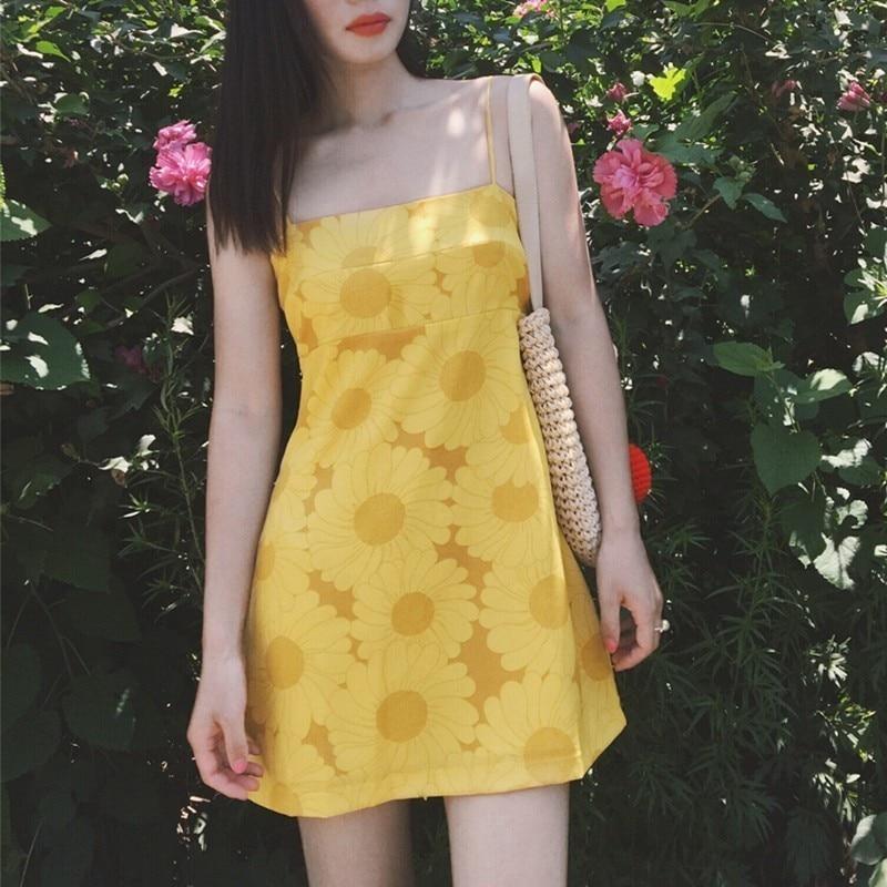 Vintage Girl Sweet Flower Print Sling Dress High Waist Women Summer Vacation Camisole Mini Dresses