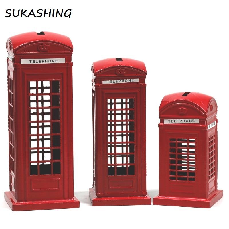 Tirelire de téléphone de londres   Boîte à monnaie en fonte rouge, tirelire Souvenir britannique, de grands cadeaux pour la maison et les enfants, décoration de noël