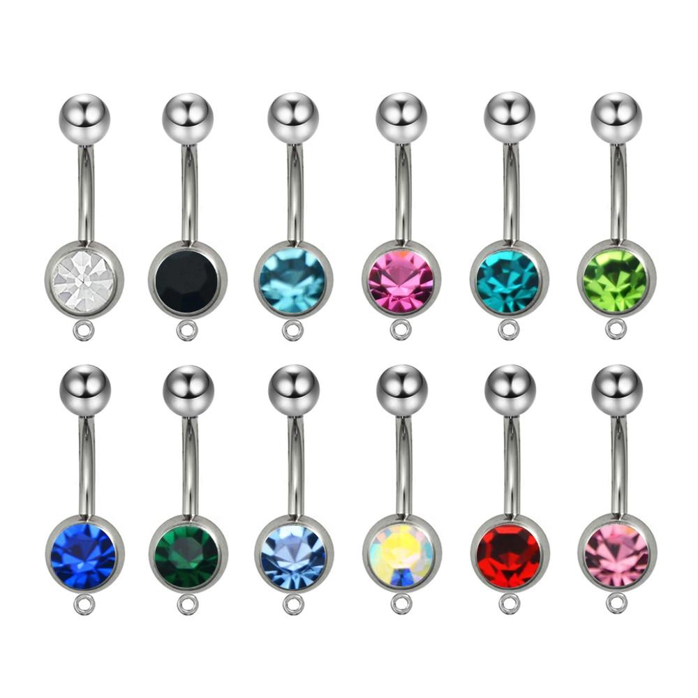 Anillo de ombligo con 12 piezas de cristal de circonia cúbica enjoyado-Añade tu propio estilo de abalorio