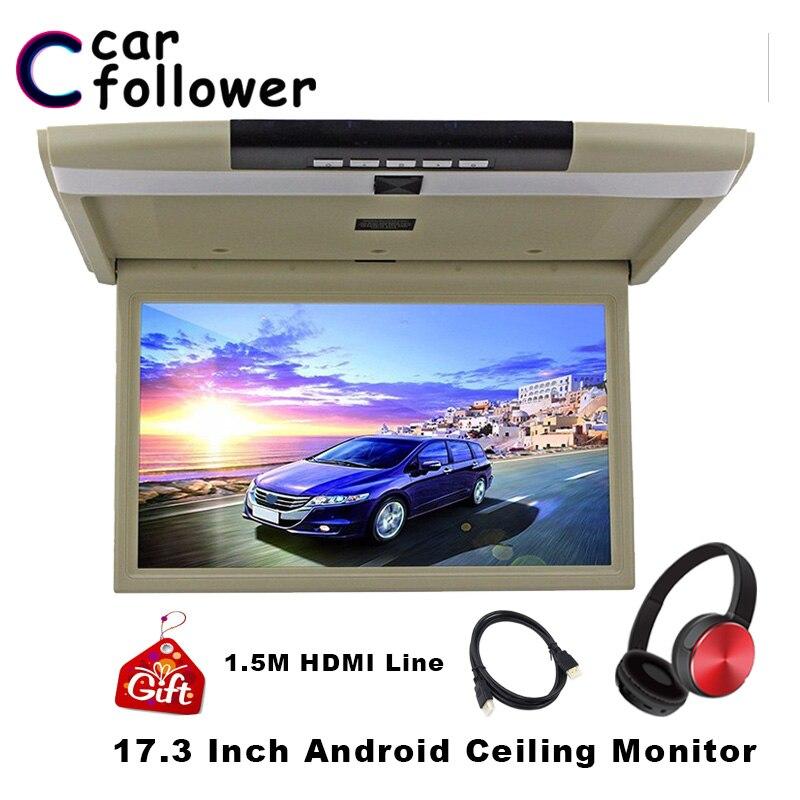 Monitor MP5 para techo de coche Android de 17,3 pulgadas, reproductor de vídeo HD de 1080P con pantalla IPS con WIFI, HDMI, USB, SD, FM, Bluetooth, altavoz, TV de coche