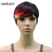 hairjoy synthetic hair muti color bangs high temperature fiber woman short wig 18 colors available
