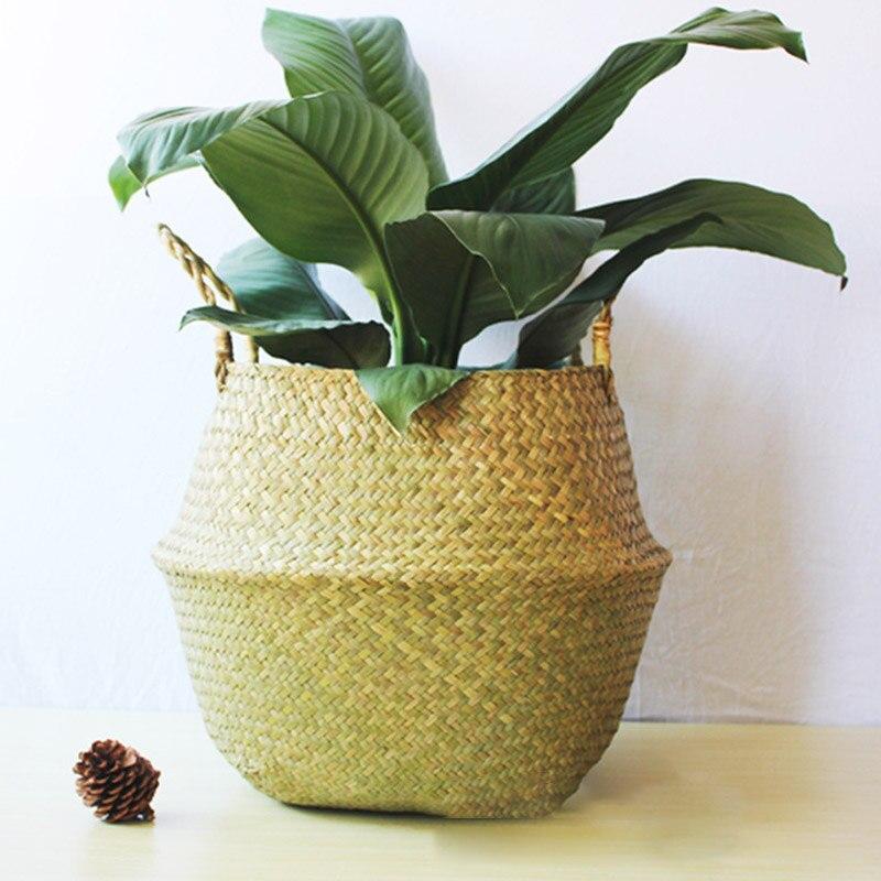 Cestas de almacenamiento hechas a mano, cesta plegable para la colada, cesta de paja, maceta de mimbre, ratán, algas, para el vientre, jardín, maceta, maceta