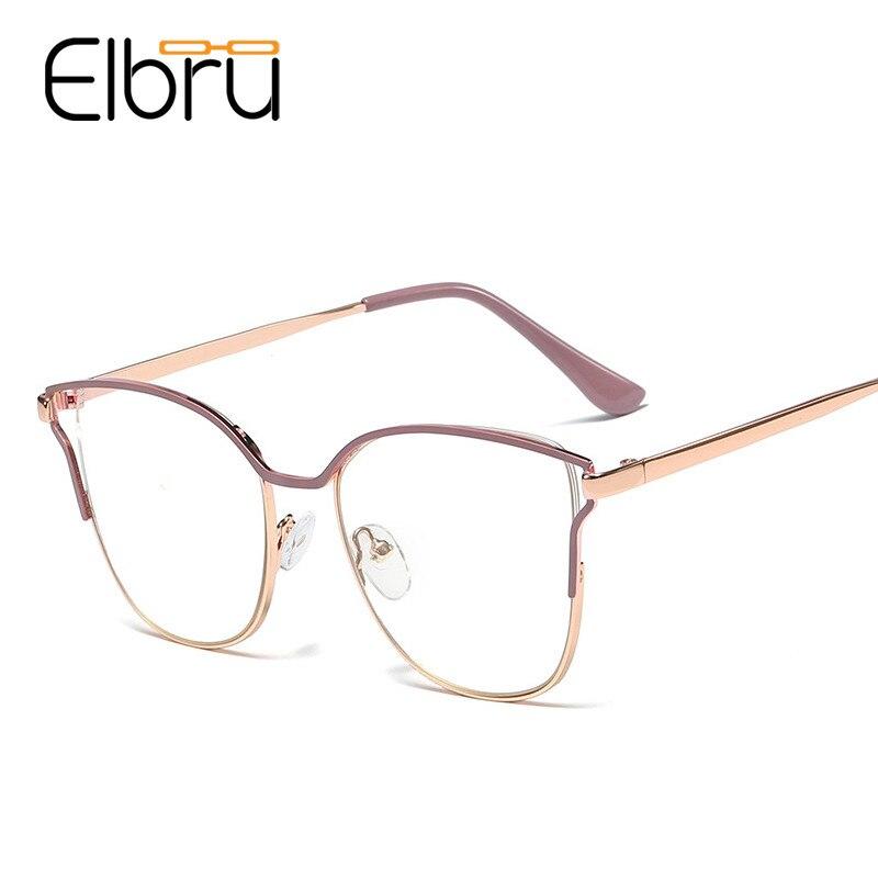Elbru vintage senhoras óculos de olho de gato quadros para mulheres armação de metal miopia óculos ópticos retro computador óculos feamale oculos