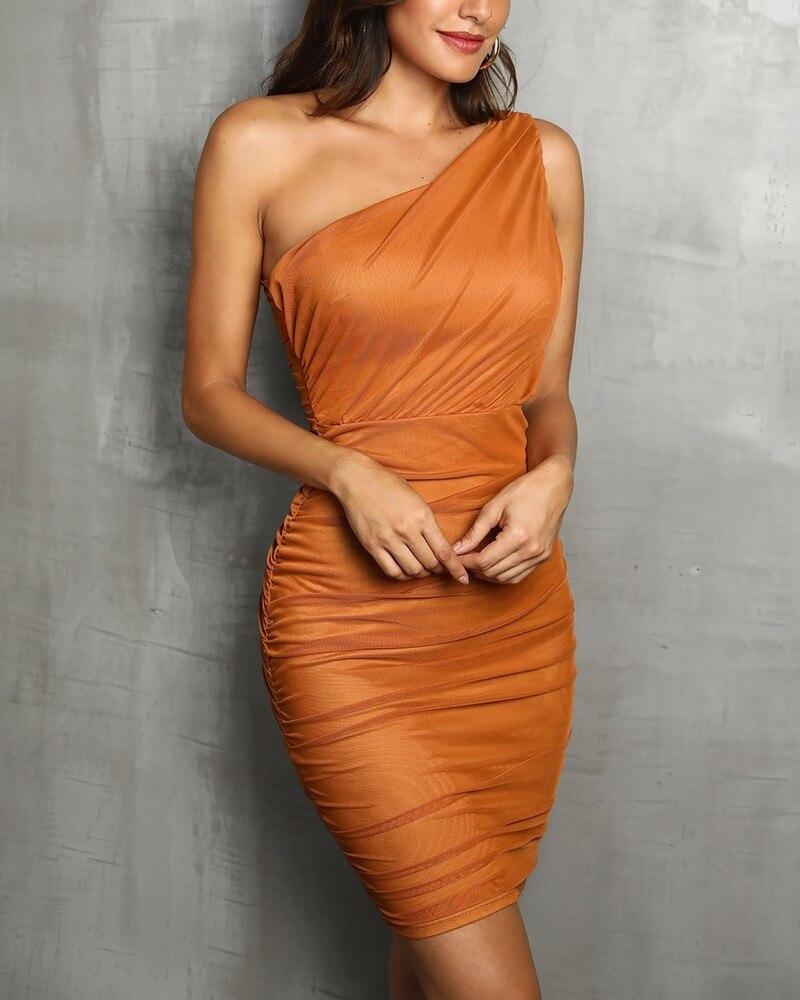 2019 Women Sleeveless A Shoulder Designed Bodycon Dress