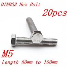 Boulon hexagonal acier inoxydable DIN933 M5 * 60/65/70/80/90/100 5mm 304   20 pièces