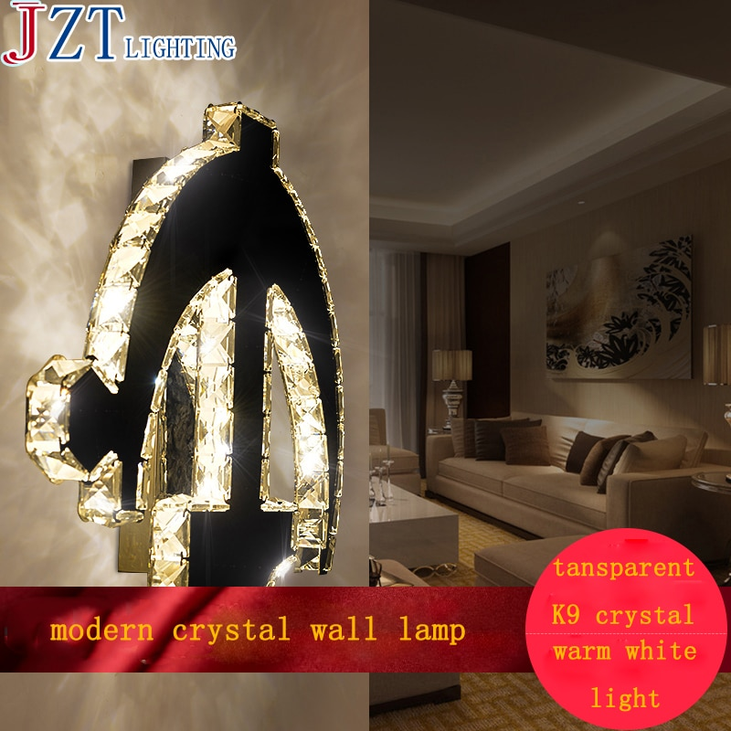 Lámpara de cristal moderna M AC90-260V para mesita de noche, lámpara de pared para dormitorio 10W H44 * W38cm, lámpara LED de moda para decoración de dormitorio