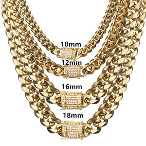 8/10/12/14/16/18mm width Men Boy Gold Stainless Steel Miami Curb Chain Necklace Rapper Jewelry