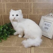 white simulation sitting cat toy polyethylene & furs big lovely cat model about 22x24x15cm 1736