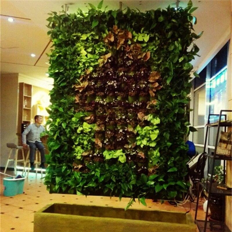 Maceta colgante para planta de pared verde y negro con 18/72 bolsillos, bolsa Vertical de fieltro para plantar flores, bolsas de cultivo Graden, macetas, decoraciones