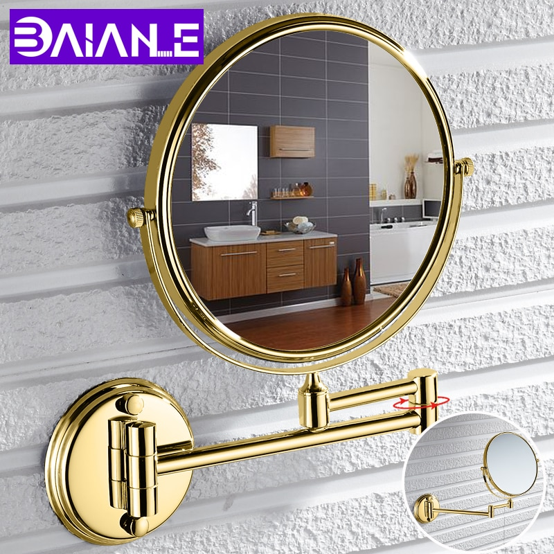 bathroom mirror antique red copper double side make up mirror dressing room round magnifying cosmetic mirror wall mounted nba631 Bathroom Mirror Stainless Steel Wall Mounted Cosmetic Mirror Magnifying Make Up Mirror Gold 8 Inch Folding Double Sided Rotating