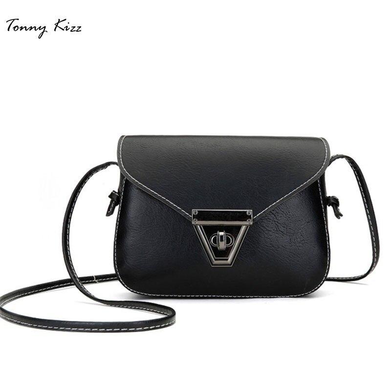Tonny Kizz moda pequeña bandolera bolsas de cuero para mujeres bandolera Mini Vintage señoras bolsos de mano bolsa femenina