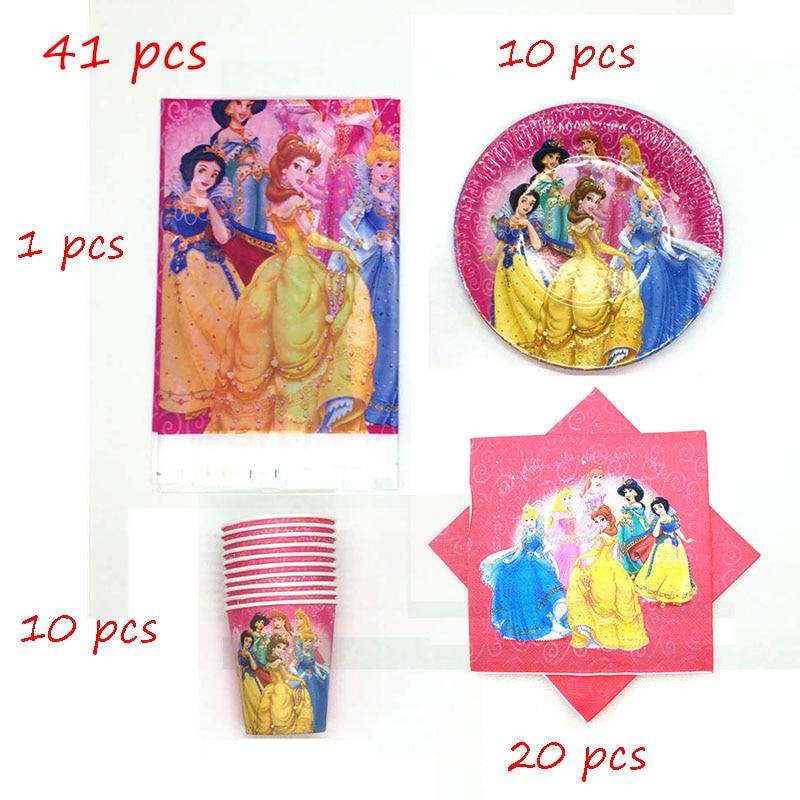 41 pçs seis tema da princesa para 10 pessoas usam crianças decorações de festa de aniversário suprimentos papel descartável copo placa guardanapo toalha de mesa