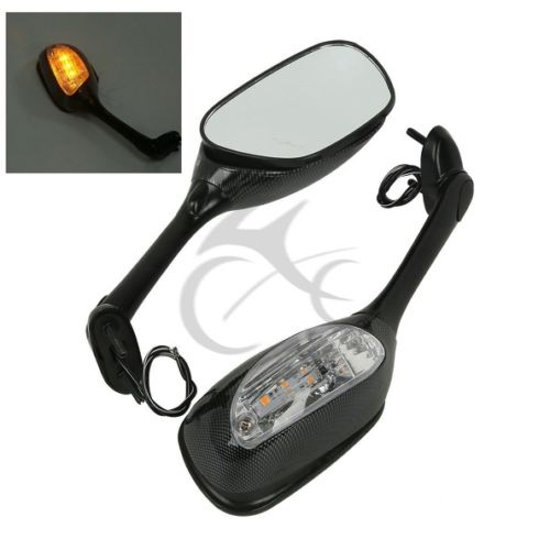 Led Carbon Side Rear View Mirrors Turn Signal For Suzuki GSXR 600 750 06-15 GSXR1000 05-15