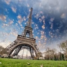 Laeacco ciel nuageux tour Eiffel Paris paysage bébé photographie arrière-plans vinyle arrière-plans photographiques personnalisés pour Studio de Photo