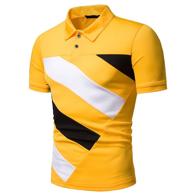WSGYJ Polo Homme 2019 marca de verano hombres casual ajustado ajuste contraste Color Camisa Polo de manga corta Camiseta XXL