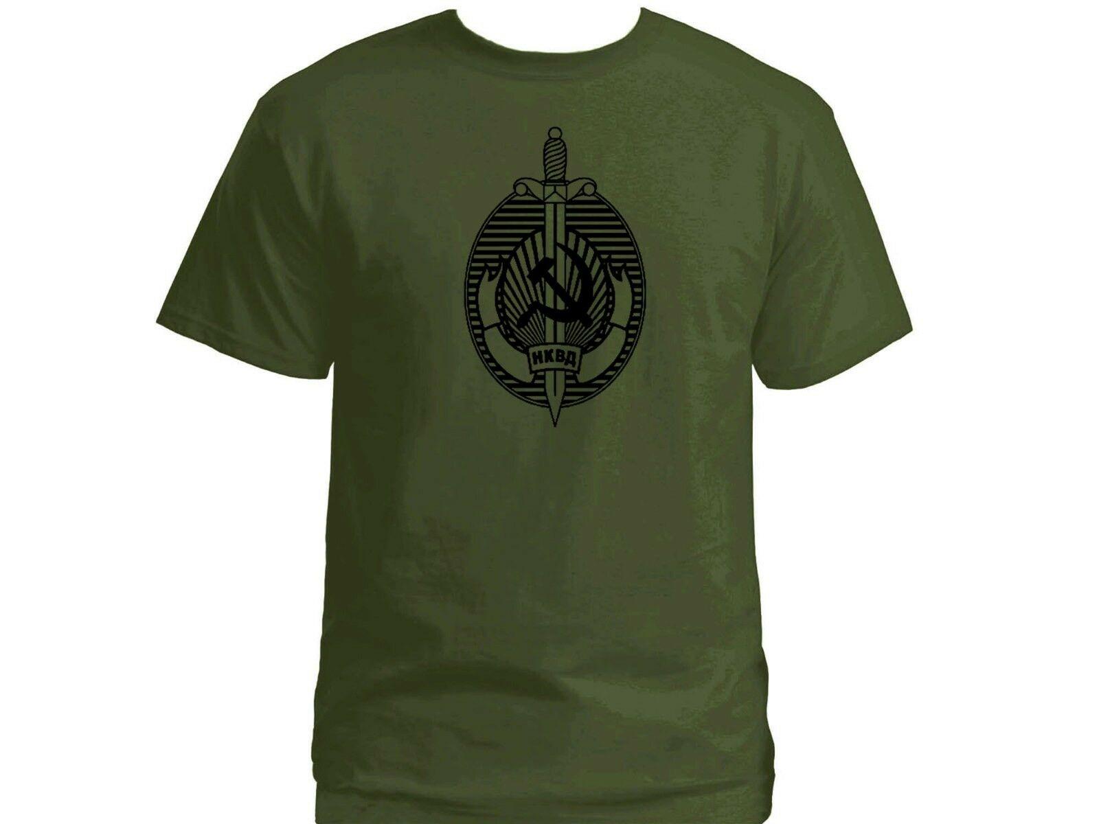 Camiseta rusa NKVD de la antigua KGB, agencia de seguridad comunista soviética, verde militar, Camiseta de algodón de manga corta para hombres, camisetas geniales