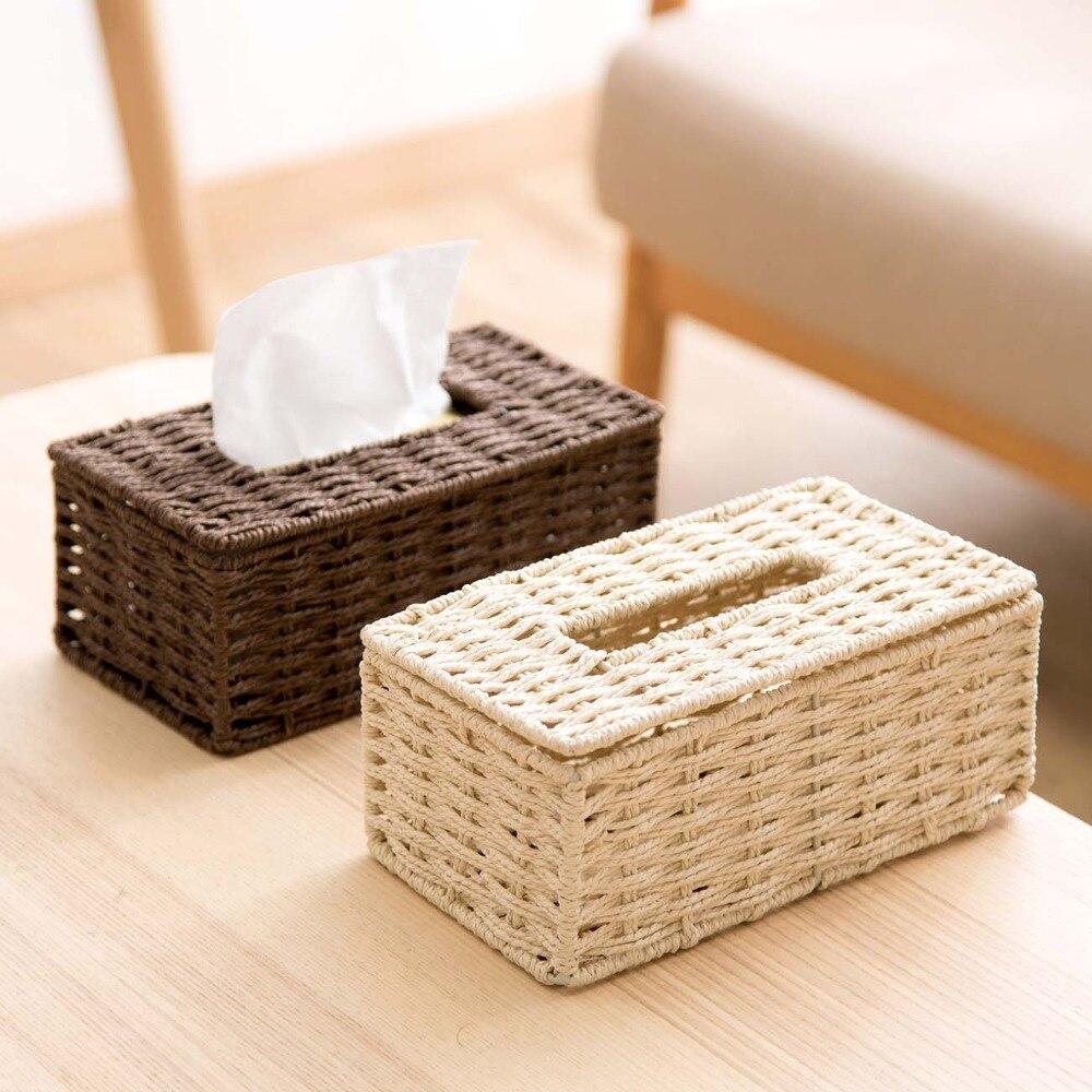 Creative Rattan Tissue Box Vintage Napkin Holder Case Tissue Paper Holder Storage Container Cover Living Room Home Decoration