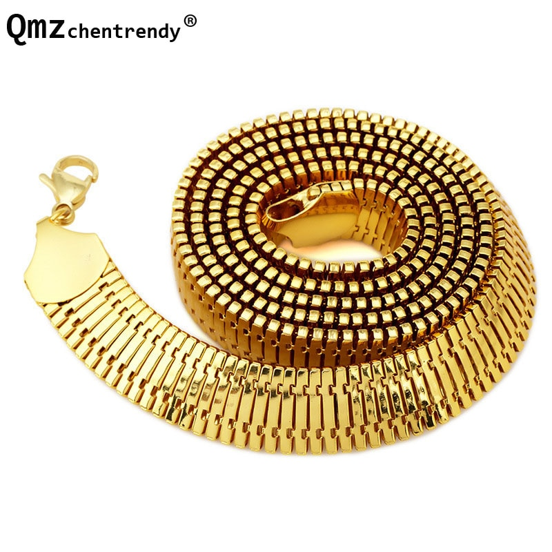 Nova largura de ouro cheio galvanizado fishbone corrente colar quilha colar masculino hip hop bling peixe cobra osso jóias