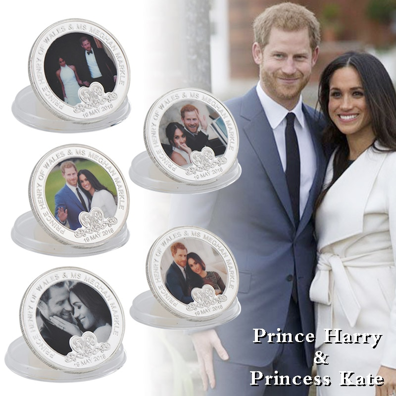 WR Prince Harry & Meghan Get Married Silver Plated Coins Collectible Copy Coin Euro Commemorative Coin for Business Gifts