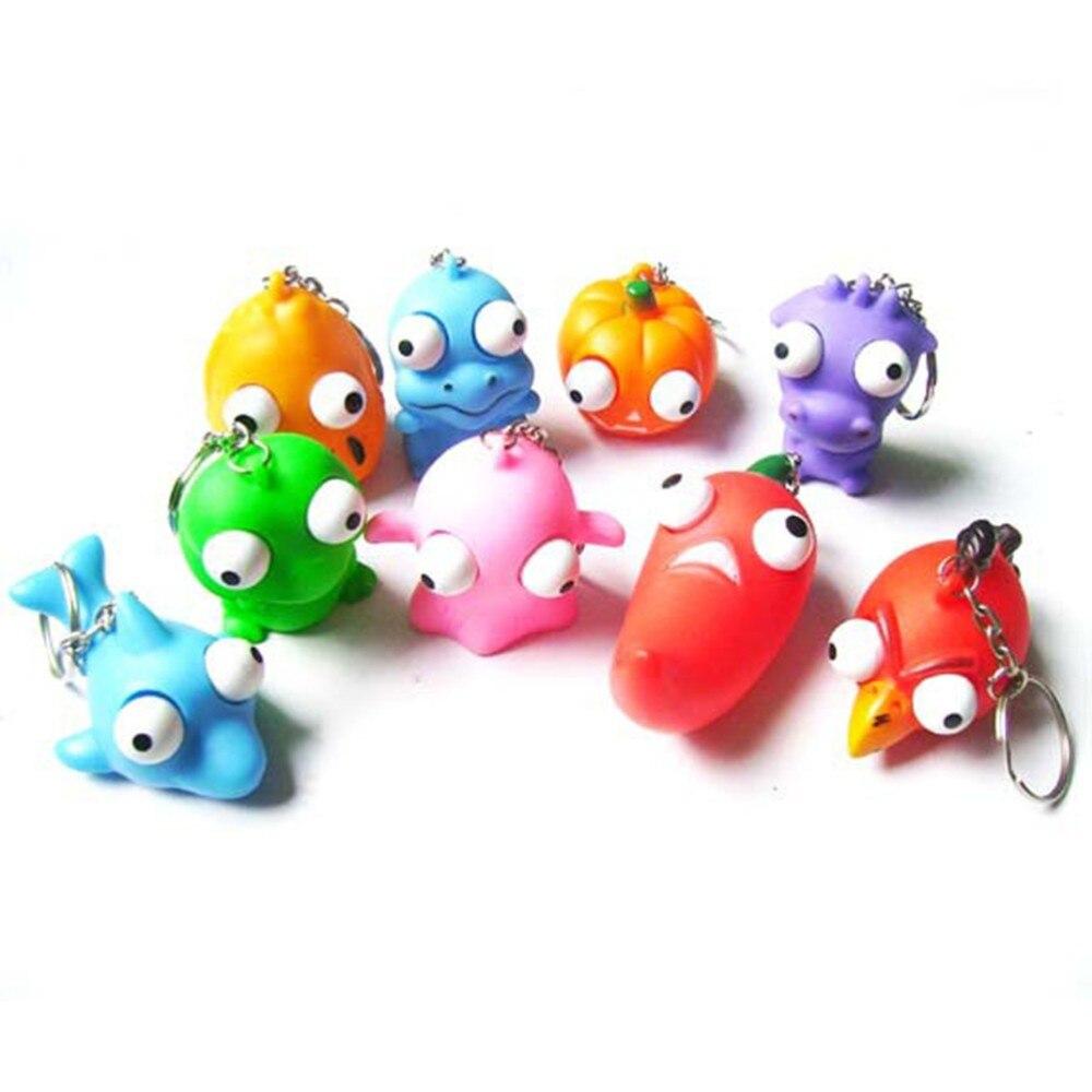 Llaveros divertidos de muñeca con diseño de ojos en relieve, juguetes de exprimir, divertida pelota Anti-estrés, juguetes de animales para desahogar, productos novedosos