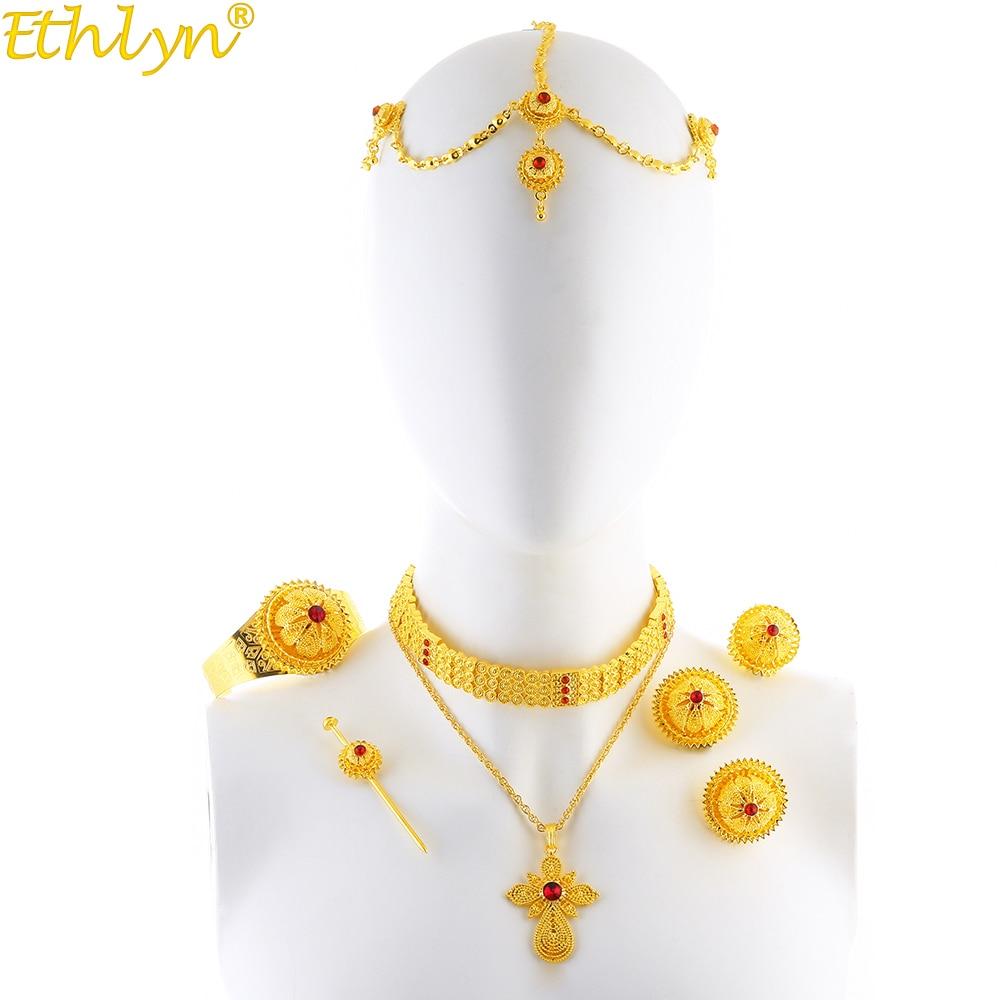 Ethlin-مجوهرات إثيوبية فاخرة من حجر الراين الإثيوبي ، قلادة متقاطعة ، عقد زفاف ، مجوهرات ذهبية اللون ، هدايا Habesha S205