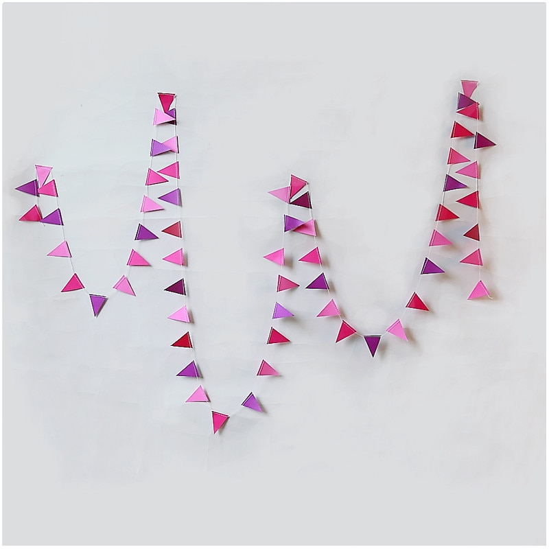 4 Uds 4M púrpura rosa empavesado de papel banderas Banner para decoración de fiesta de cumpleaños decoración de la habitación de los niños