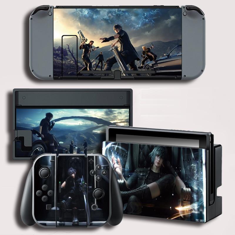 Película protectora decorativa Final Fantasy Cubierta de vinilo para consola Nintendo Switch NS + controlador + soporte de película adhesiva de Color