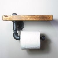 Urban Industrial Wall Mount Wood Storage Shelf Iron Pipe Toilet Paper Holder Roller Restaurant Restroom Bathroom Decoration