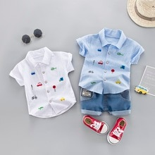 Children Boy Summer Clothing Set Short Sleeve Printed Shirt+Denim Shorts Gentleman 2Pcs Suit Kids Boys Clothes Sets
