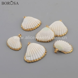 BOROSA 10PCS New Arrival Gold Electroplated Natural White Shell Scallop Pendant Beads for Necklace for Earring Jewelry G1776