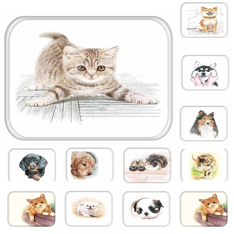 1pcs 40*60cm Cats Dog Pattern Anti-Slip Suede Carpet Door mats doormat indoor Kitchen Bathroom Living room Floor Mat Rug 48179