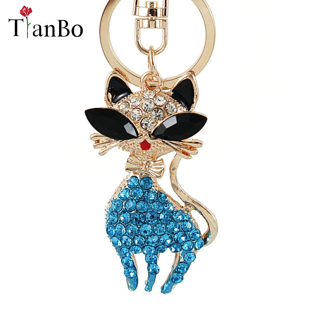 women bag charm trinket rhinestone animal Cat car key chain keyring bag key fobs holder keychains birthday gift souvenir jewelry