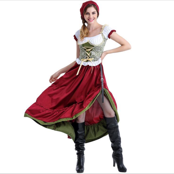 ¡Recién llegado! Disfraz de chica cerveza tradicional para mujer vestido largo mujer sirvienta francesa disfraces de Halloween traje Bavaria oktoberfest
