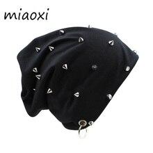 Miaoxi Hip Hop nueva moda remache Hoop caliente invierno hombres sombrero mujeres otoño adulto moda Beanies gorras para niño marca Bonnet venta