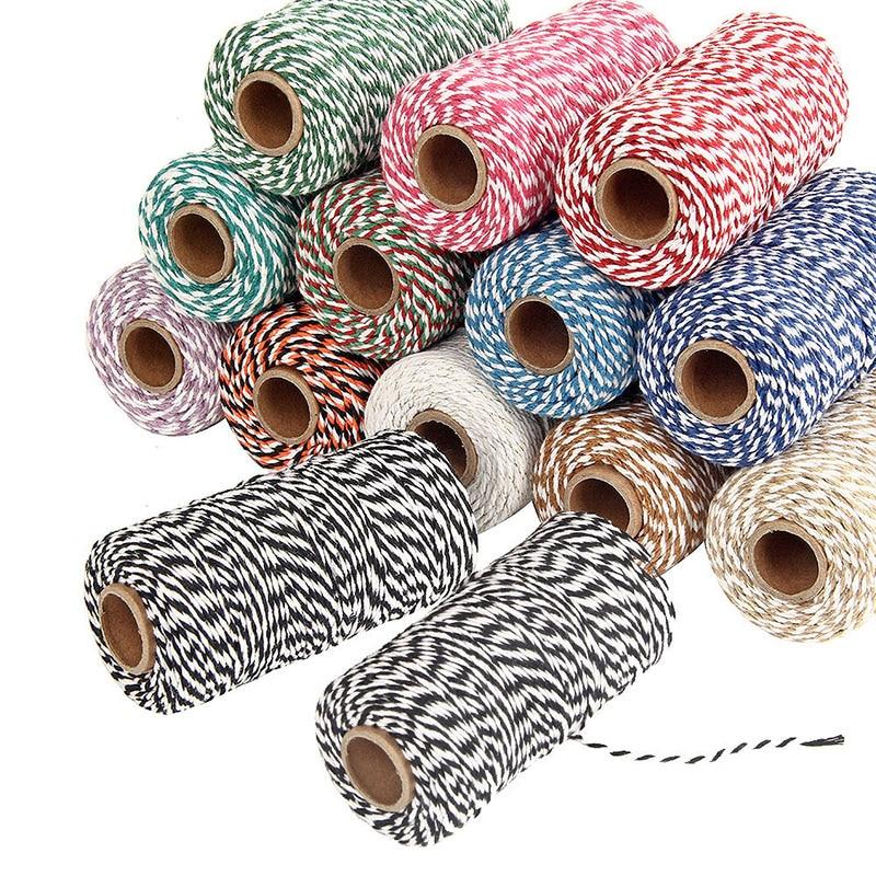 1 rolle 100 Meter 2mm Baumwolle Bäcker Bindfäden String Schnur Seil Handgemachte Accessoires Weihnachten Dekoration DIY Geschenk Wrap Material