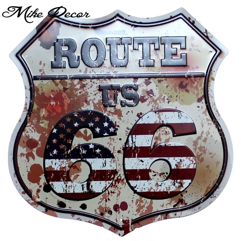 [Mike Decor] letrero pintado Irregular Route US 66 placa de pared regalo Retro Bar tienda decoración YE-155 pedido combinado