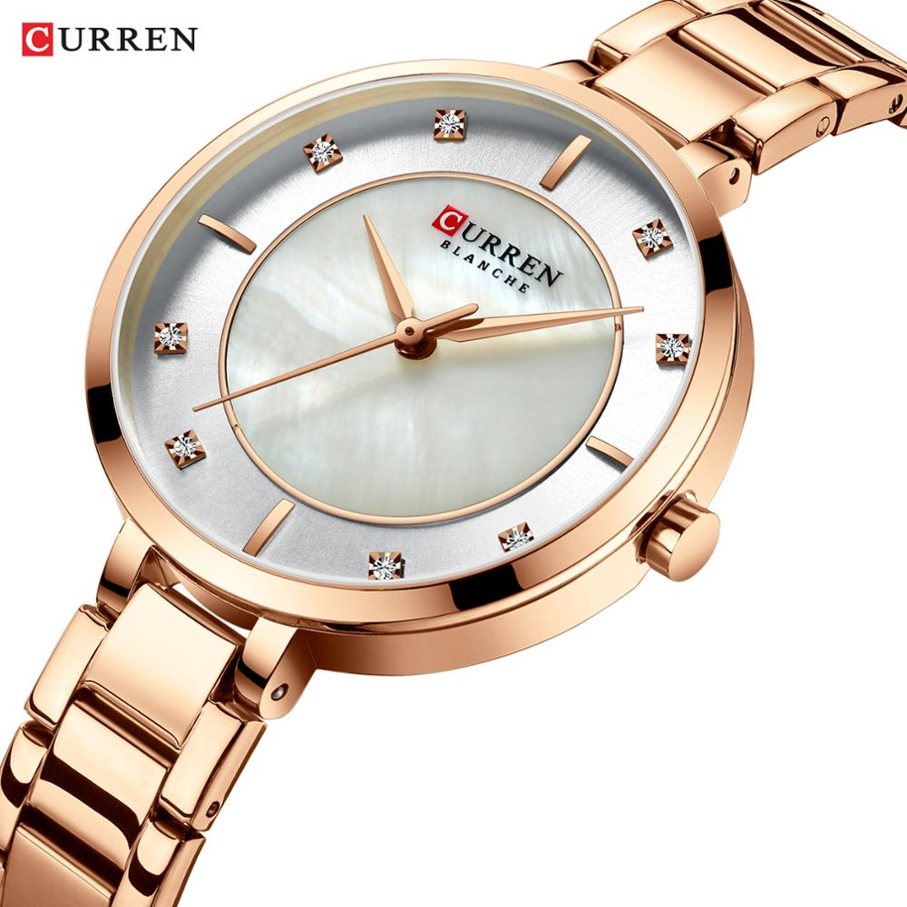 CURREN Elegant Women Watch Rose Gold Slim Crystal Stainless Steel Strap Quartz Fashion Waterproof Female Watches Relogio Feminin