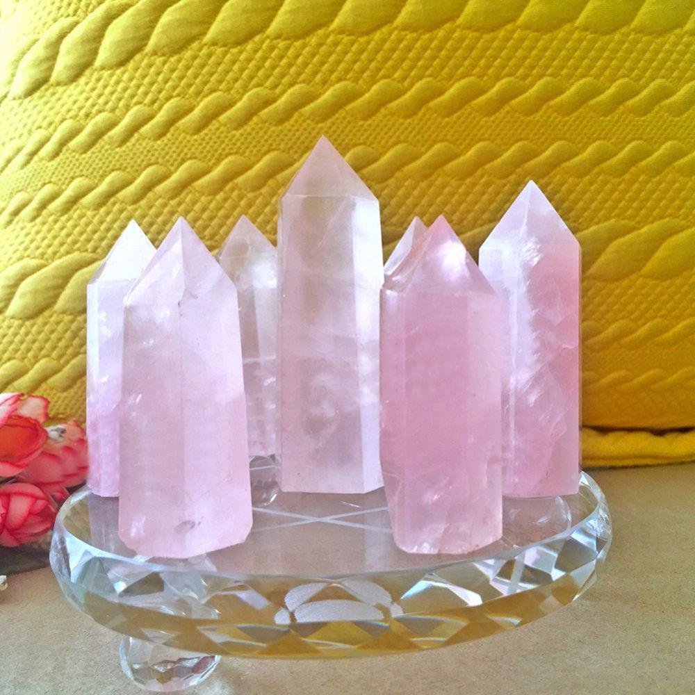 Cristal de fluorita Natural de fluorita rosa, varita Hexagonal Cuarzo de 50-60MM