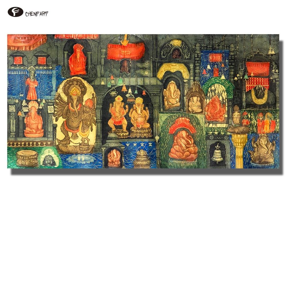 Cuadros de pared de Buda chenfart serie Ganesha forma tradicional de Dios para sala de estar sin marco